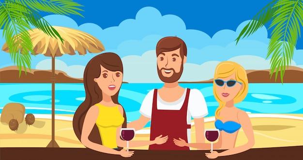 Rencontre de filles avec un jeune homme. parlez au bar de la plage.