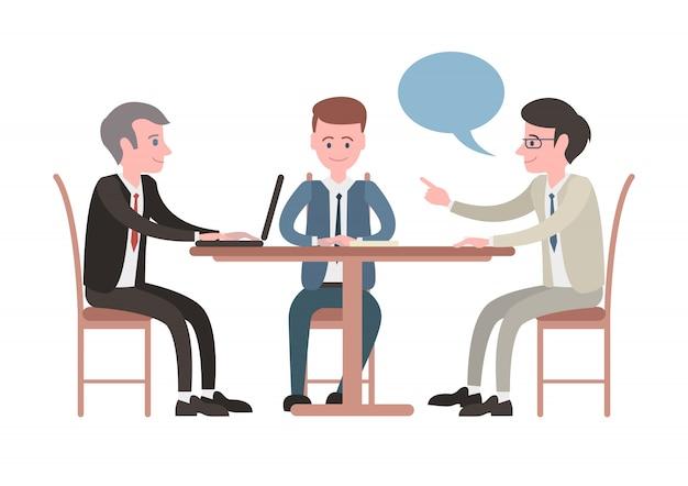 Rencontre illustrée avec des hommes d'affaires