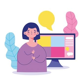 Rencontre en ligne, communication virtuelle de message informatique jeune femme