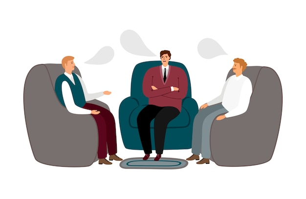 Rencontre masculine. les hommes communiquent l'illustration. concept de thérapie masculine de groupe