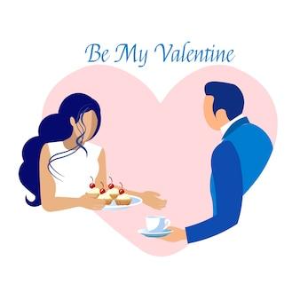 Rencontre romantique sur la carte d'invitation saint valentin
