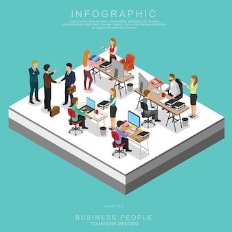 Rencontre de travail d'équipe des gens d'affaires isométriques au bureau