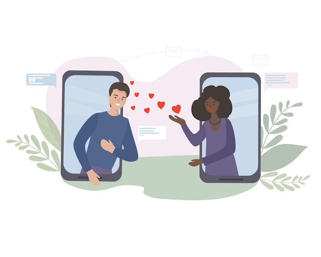 Rencontres et communication en ligne. rendez-vous romantique virtuel. l'amour pendant la quarantaine. rencontrer des amoureux dans un chat vidéo via une application pour smartphone sur les réseaux sociaux. femme noire américaine et homme blanc.