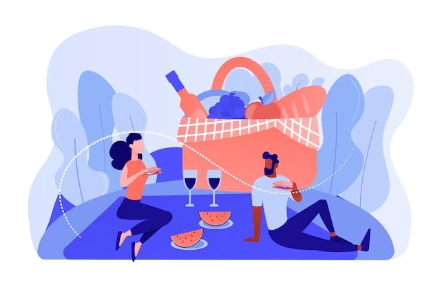 Rencontres copine et copain, couple amoureux en train de déjeuner sur la nature. pique-nique d'été, dépenses de temps en famille dans le parc, concept de fournitures spéciales de cuisine. illustration isolée de bleu corail rose