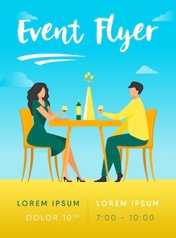 Rencontres couple appréciant le modèle de flyer dîner romantique