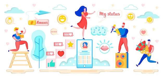 Rencontres dans la relation virtuelle du site de réseautage social.