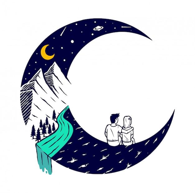 Rencontres sur l'illustration de la lune
