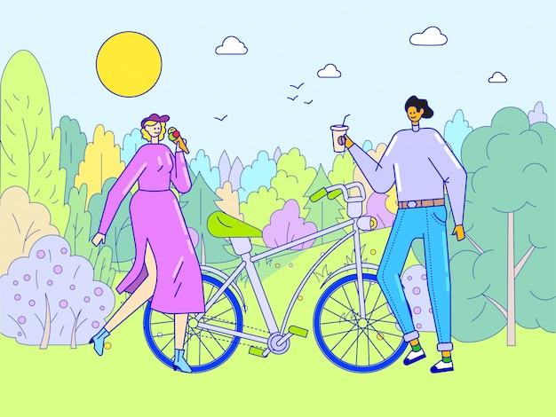 Rencontres romantiques de couple, illustration de concept de ligne. caractère de femme homme heureux marchant dans le parc à vélo, loisirs