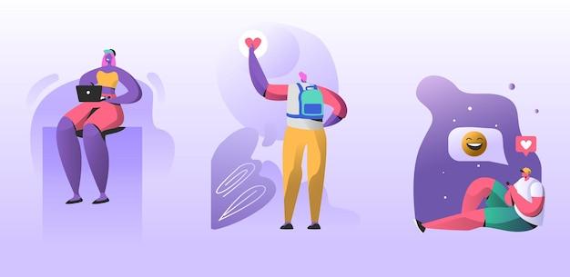 Rencontres web et concept de chat d'amour en ligne. illustration plate de dessin animé