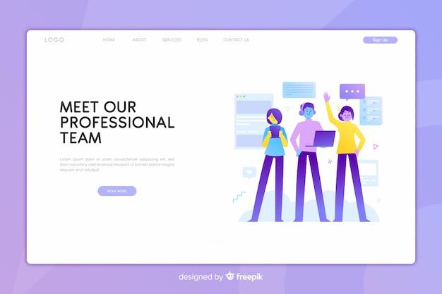 Rencontrez notre page d'atterrissage de concept d'équipe