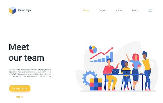 Rencontrez notre page de destination de l'équipe, réunion de l'équipe des gens de l'entreprise au bureau, travaillant ensemble