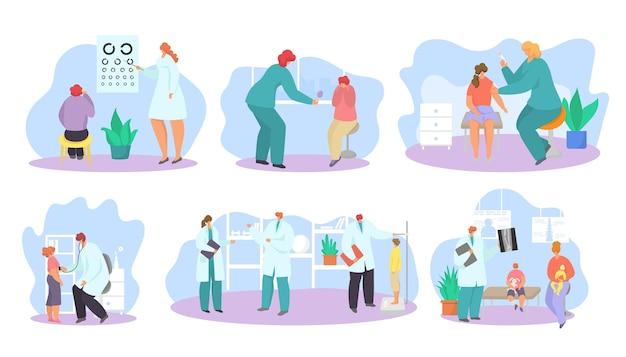Rendez-vous chez le pédiatre, isolé sur un ensemble blanc, examen médical d'illustration vectorielle pour le caractère garçon-fille, conception de soins de santé.
