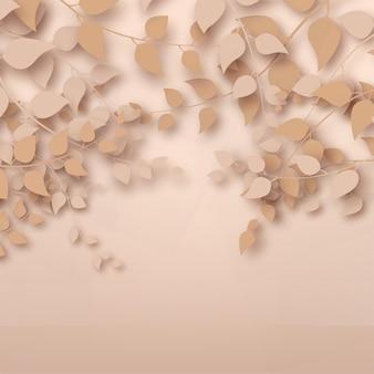 Rendu 3d abstrait branches et feuilles d'or rose sur fond d'or rose
