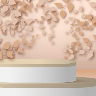 Rendu 3d abstrait branches et feuilles d'or rose avec podium blanc et bois sur fond d'or rose