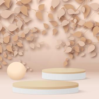 Rendu 3d abstrait branches et feuilles d'or rose avec des podiums blancs et en bois sur fond d'or rose