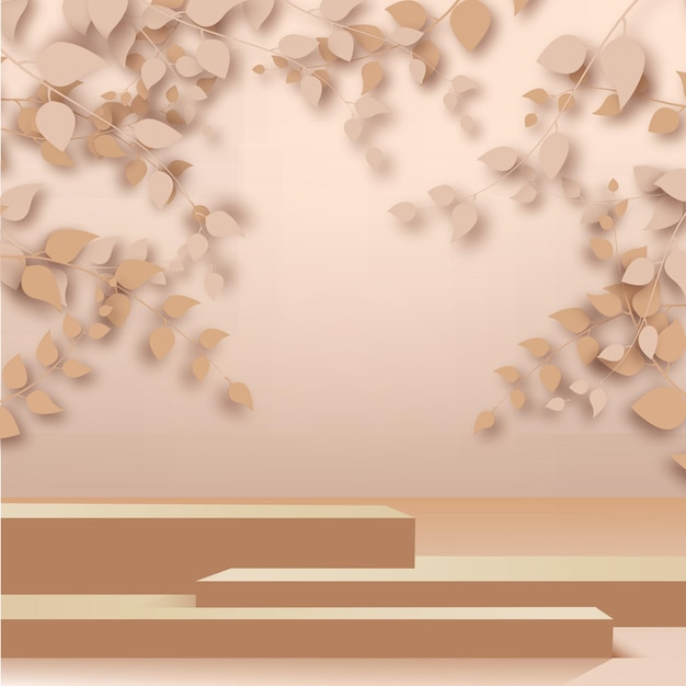 Rendu 3d abstrait branches d'or rose, feuilles et podium sur fond d'or rose