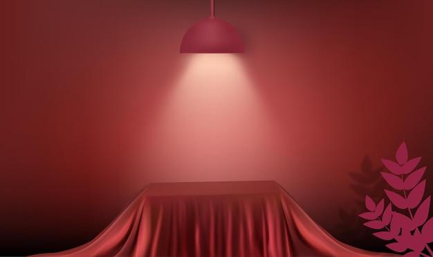 Rendu 3d abstrait pour l'affichage. salle vide moderne de fond de podium de cube de tissu de soie rouge avec la lampe et la lumière