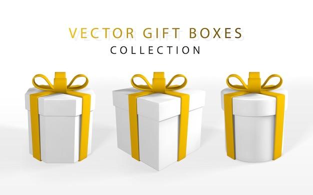 Rendu 3d et dessin par boîte-cadeau réaliste en maille avec arc. boîte de papier avec ombre isolé sur fond blanc. illustration vectorielle.