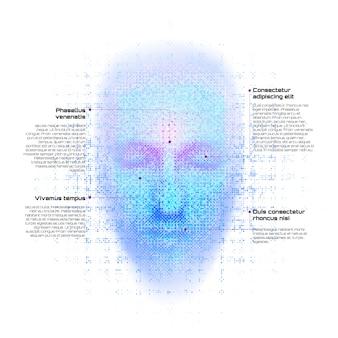 Rendu 3d du visage de robot avec des chiffres sur blanc