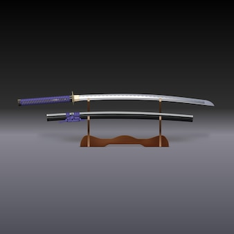 Rendu 3d d'un sabre de samouraï traditionnel