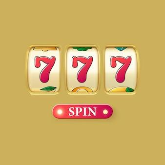 Rendu réaliste de machine à sous dorée. gros gain sur le jackpot du casino. 777 sur les roues de la machine à sous et le bouton de rotation. vecteur