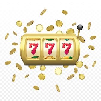 Rendu réaliste de machine à sous dorée. gros gain sur le jackpot du casino. 777 sur les roues des machines à sous et les pièces de monnaie pleuvent sur le fond vecteur