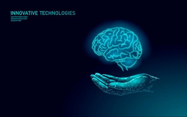 Rendu de traitement du cerveau. concept de santé mentale de drogue de main de soins de médecine. réadaptation cognitive chez le patient de modèle de bannière de centre de maladie d'alzheimer