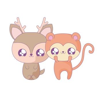 Renne mignon avec des animaux de singe style kawaii
