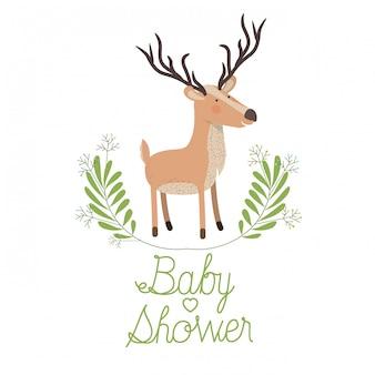 Renne mignon avec carte de douche de bébé guirlande