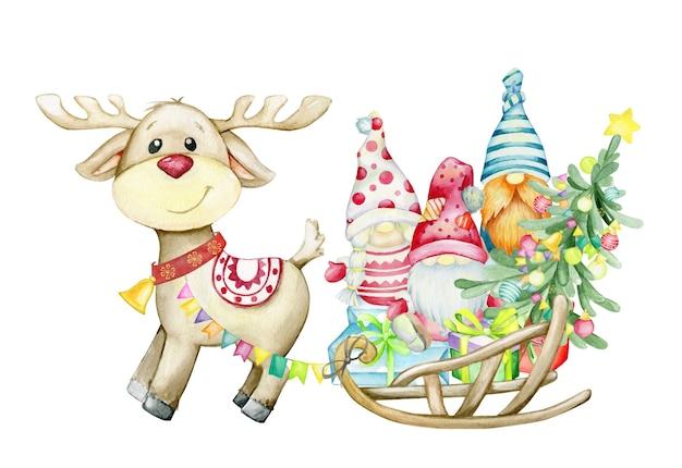 Le renne porte un traîneau avec des nains, un arbre de noël et des cadeaux. illustration aquarelle