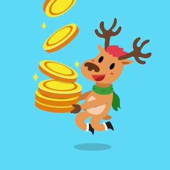 Rennes de dessin animé vector avec pile de pièces d'argent
