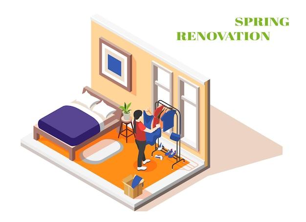 Rénovation de printemps intérieur isométrique avec jeune femme de trier les vêtements dans le dressing de sa chambre