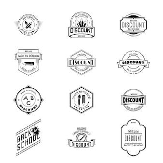 Rentrée scolaire badges logos et étiquettes