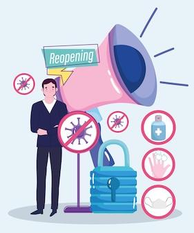 Réouverture de l'argent de mégaphone d'homme d'affaires heureux, illustration de mesures de prévention