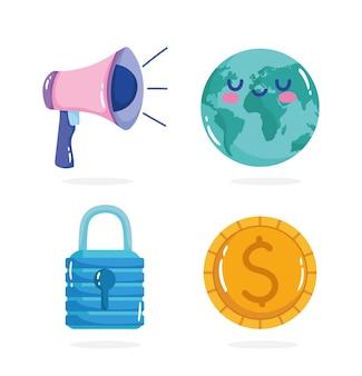 Réouverture, cadenas planète mégaphone et jeu d'icônes d'argent.