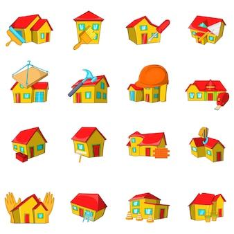 Repair house icons set, style de bande dessinée