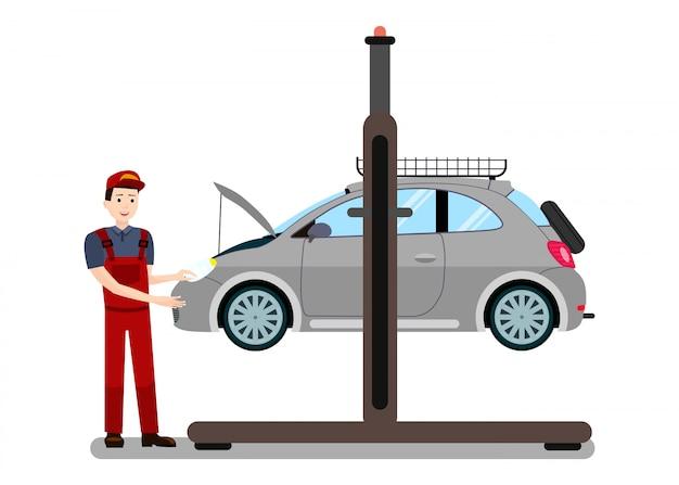 Réparateur examine moteur