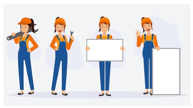 Réparateur mécanicien féminin dans diverses actions