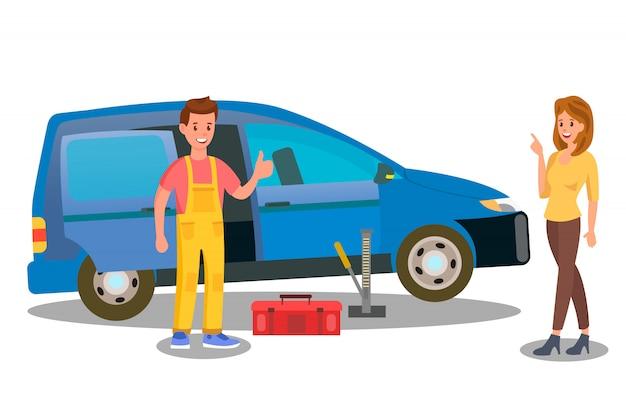 Réparateur, mécanicien, ouvrier, vecteur, illustration