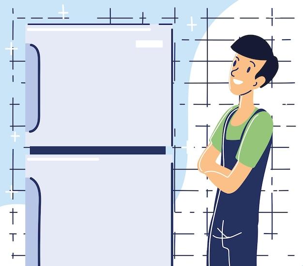 Réparateur avec réfrigérateur