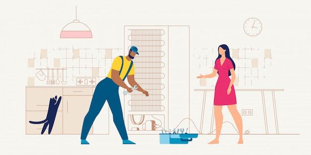 Réparateur de service d'appareils ménagers au travail de vecteur