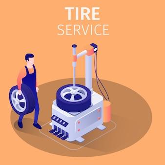 Réparateur ou technicien tenant la roue