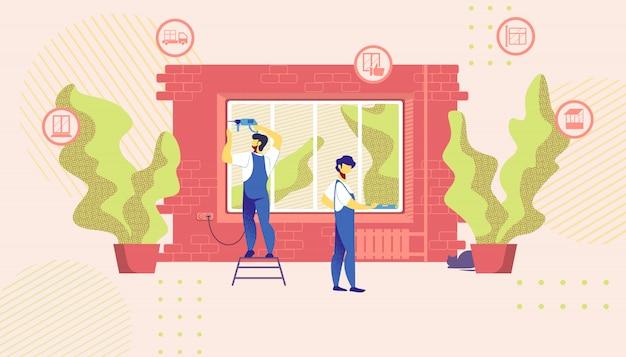 Les réparateurs à domicile installent de nouvelles fenêtres dans le bâtiment