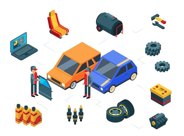 Réparation automobile. concept de pièces de voiture isométrique. autos, pneus, porte, réservoir d'essence, batterie et mécanique. réparation de voiture, illustration isométrique du service automobile