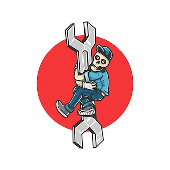 Réparation automobile. crâne humain monter la clé. éléments de conception pour affiche, emblème, signe, t-shirt. illustration vectorielle