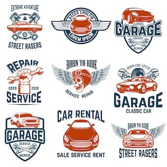 Réparation automobile, garage, emblèmes de service automobile. éléments pour logo, étiquette, signe. image