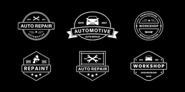 Réparation automobile, service, collection d'insignes de conception de logo de mécanicien