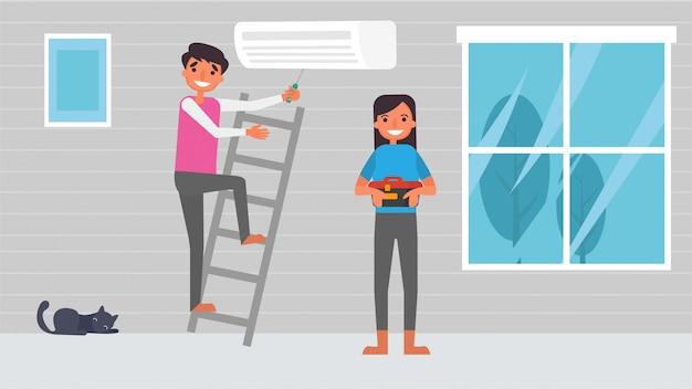 Réparation de climatiseur les activités de passe-temps des amoureux des travaux ménagers que les couples passent ensemble, temps avec leurs proches bonheur aucun endroit comme l'illustration du concept de maison dans un style de dessin animé plat.