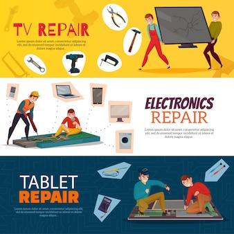 Réparation électronique horizontale avec tv portable et ordinateur