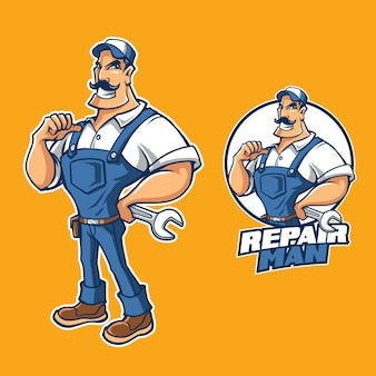 Réparation homme dessin animé illustration